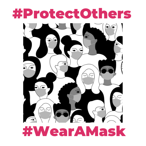 Black and white images of People wearing Masks. Above the image is the hashtag ProtectOthers, underneath the image is the Hashtag WearAMask